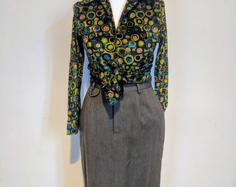 80s Ralph Lauren brown vintage wool  40s/50s style pencil/ wiggle high waist skirt. 27 inch waist.