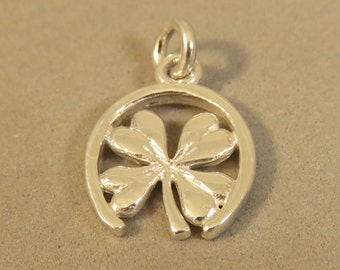 Sterling Silver 3-D Four Leaf CLOVER in HORSESHOE Charm Pendant Shamrock Good Luck Symbol Sign .925 Sterling Silver New sy07