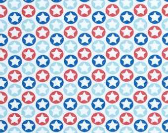 FLANNEL Fabric, Circle and Stars, Patriotic Fabric, Fabric BTY, Quilting Fabric, Craft Fabric
