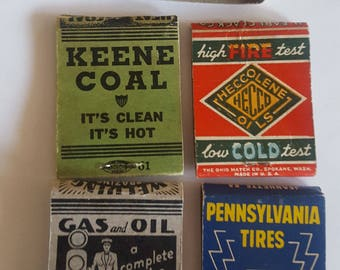 Vintage late 1940's to 1950's lot of 5 Service matchbooks, Gas Stations, Tires, Coal, auto parts Montana and Oklahoma