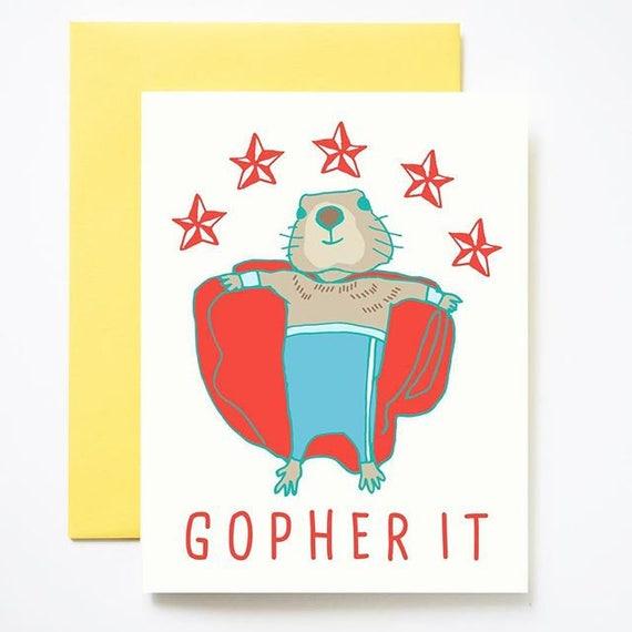 Gopher It! Encouragement Card
