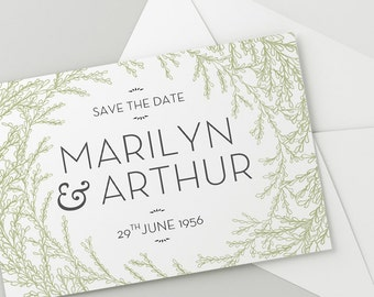 Printable Wedding Save The Date Download 'Garland' // DIY TEMPLATE // Word Mac or PC // 7 x 5 // Change artwork colour // Luxury Design