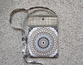 Beige, Black and White Medallion Print Pocket on a Beige and White Uneven Plaid Print Front Quilted Crossbody/Shoulder Bag, Tablet Bag