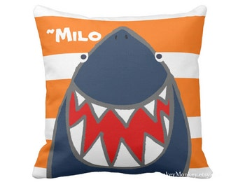 Fun Shark pillow toss pillow beach theme ocean fish surf sharks beach decor kids toddler boys girls teen adult personalized shark bedding
