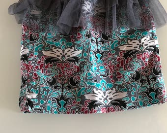 Girls African Print pencil skirt with tulle detail