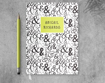 Custom Journal Personalized Notebook, Hardcover Notebook Journal for Her, Ampersand Journal for Him, Custom Notebook Gift for Teenagers