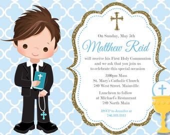 First Communion Invitation, Boy, Blue, Gold, Any Hair Color - Printable or Printed