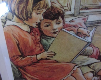 Young Girl reading to Brother Print