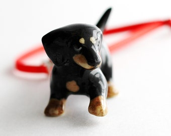 Black Dachshund Doxie Wiener Small Dog Christmas Ornament Red Swarovski Crystal Wire Wrapped by Hendywood