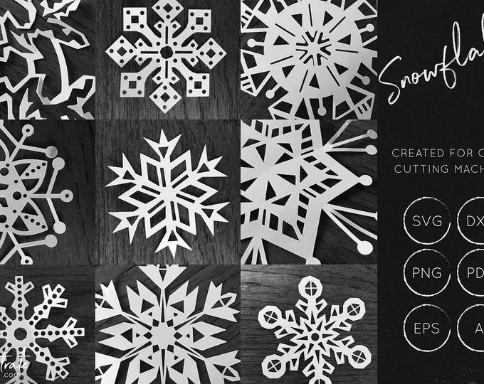 Snowflake SVG cut file bundle