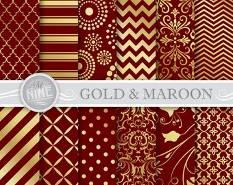 MAROON and GOLD Digital Paper / Gold and Maroon Patterns Printable / Instant Download, Patterns Printable Scrapbook Gold Damask