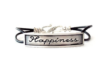 Round Leather Bracelet - Affirmation Word - Silver, Black - The Basics: 2mm Double Strand Happiness