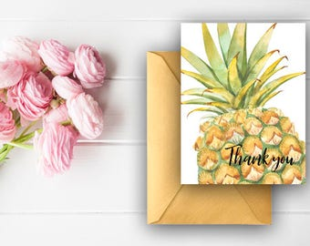 Pineapple Thank You Cards, Watercolor Thank You Notes, Birthday Thank You, Digital Download, Printable Cards, 600