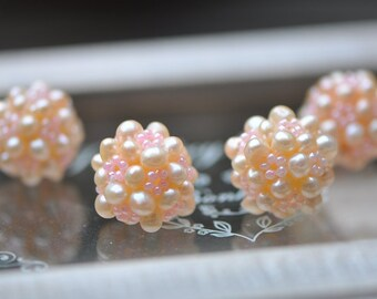 Natural Freshwater Pearl Ball 22mm Large, Peach Pearl Beaded Cluster -(PL10)/ 4pcs
