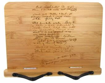 Cookbook Stand with Handwritten Recipe - Bamboo Recipe Stand - Recipe Book Holder