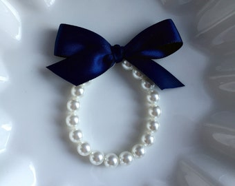 Flower Girl Pearl Bracelet with Navy Blue bow