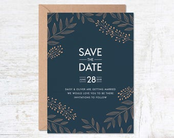 Save the Date Template, Wedding Invitation Template, Navy Blue Wedding Invitation, Save the Date Printable, Floral Save the Date, Postcard
