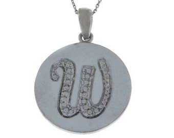 Initial Letter W Pendant .925 Sterling Silver Rhodium Finish