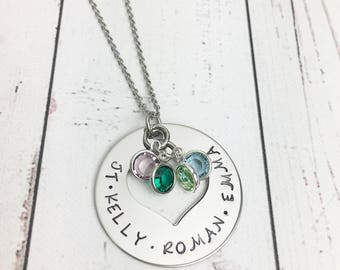 Mothers Heart Necklace with Kids Names and Birthstones - Heart Washer Necklace - Mom Heart Necklace - Children's Names Necklace-Hand Stamped