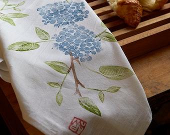 Hydrangea: Pretty Flours hand printed dish towel