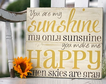 """You are my sunshine wall art, hand painted wood sign, rustic wall decor, great for baby room or home decor, measures 11"""" x 12"""""""