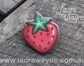Strawberry Lapel Pin Badge Brooch - Handmade Jewellery / Jewelry / I Love Strawberries / Enamel Pin Style / Fruit Pin / I Love Food /Berries