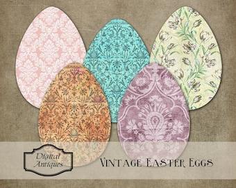 Oeufs de Pâques à motifs vintage en téléchargement numérique imprimable