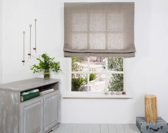 Linen Roman Blind - Roman Blind -Roman Shades-Linen Plain fabric -Hardware is Included- Made to Measure Roman Blind- Custom Roman Shade.