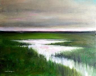 Dusk over Wetlands Landscape Original Oil Painting 60cm x 50cm