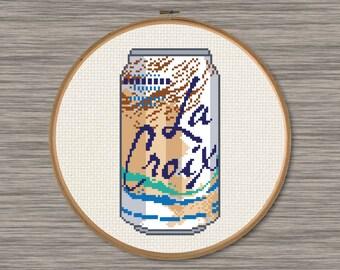 La Croix Coconut Soda Can - PDF Cross Stitch Pattern
