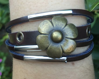 Handmade Brown Leather Multilayer Charm Bracelet - Flower Charm - 5 Seconds of Summer - 5sos - Teen Girl Bracelet - Womens Leather Bracelet