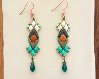 Art Deco Earrings Pattern / Ava and Diamonduo or Gemduo Beaded Earrings Tutorial / Beadweaving PDF Instructions only