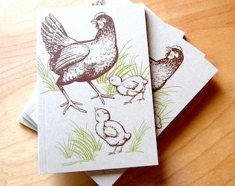 Small Journal, blank notebook, Chicken Journal, small blank sketchbook, small blank sketch pocket book, farm book, hen and chicks notebook