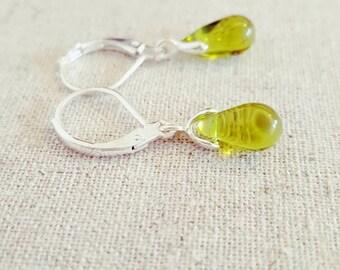 Olive Earrings • Green Drop Earrings • Tear Drop Earrings • Green Jewelry • Olive Green Earrings • Green Dangle Earrings • Green Earrings