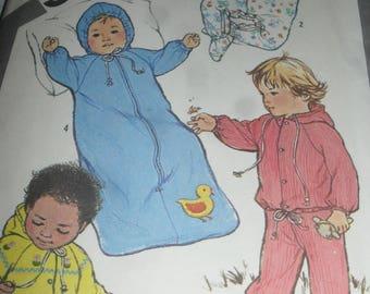 Vintage - Baby's  Sewing Pattern- Simplicity # 5286 - Bunting, jacket, pants - 1981- Free ship