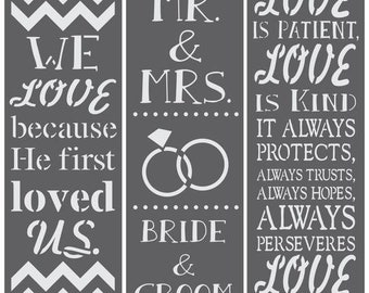 Wedding Blessing Wedding 3 Piece Craft Stencil Kit by Crafty Stencils