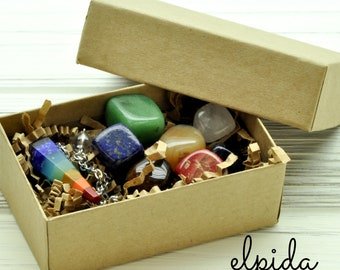 7 Chakras Crystals and Pendulum Set | Chakra Healing Natural Stones Zen Meditation