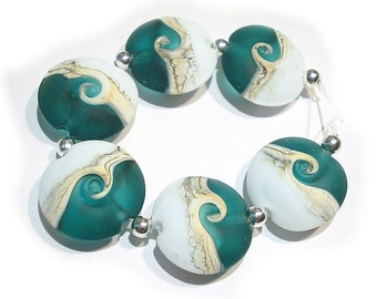 Handmade Glass  SRA  Lampwork Beads, Teal  Waves  Lentils