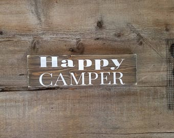Happy Camper Wood Sign. Camping signs, camping wooden sign, happy camper, happy camper decor, small camping signs, rv signs, rv wood signs
