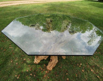 Mid Century Rare Japanese Cypress Root and Glass Top Dining Table