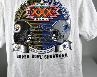 Vintage 1996 Super Bowl 30 XXX Pittsburg Steelers vs Dallas Cowboys Football Mens T Shirt Size X-Large Troy Aikman Dion Sanders
