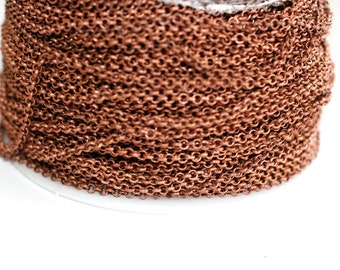 15ft Red Copper Rolo Chain 3mm -unsolderd