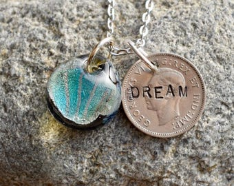 Dichroic Teeny Glass Pendant Boro Lampwork Stamped Coin Necklace - Dream