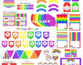 Rainbow party Huge birthday printable party supplies  UPrint customized card by greenmelonstudios