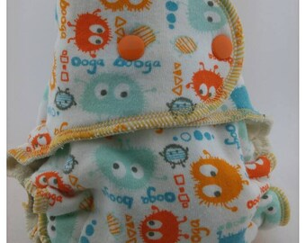 Ooga booga -size 1 daytime fitted cloth diaper- organic bamboo hemp cotton