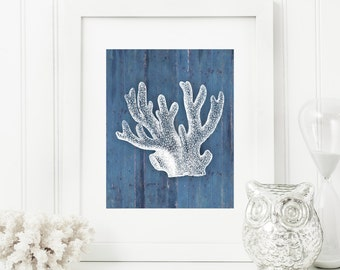 Coral Reef Art Print, Rustic Art, Nautical Art, Blue Rustic Wood 'Look' 5x7, 8X10, 11x14 Sea Life, Beach Decor, Nautical Wall Art
