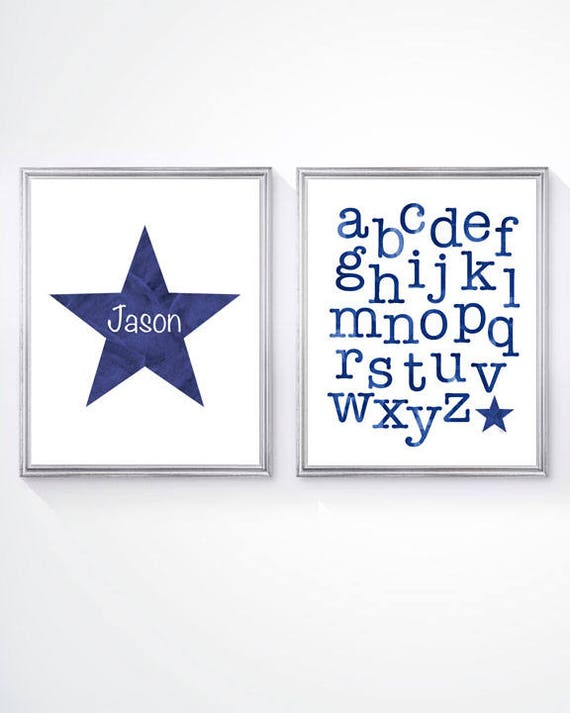 Boys Nursery Wall Decor; ABC and Personalized Star Prints, Set of 2