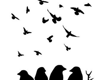 """8.3/11.7"""" Birds on branches stencil . birds 1.  A4"""