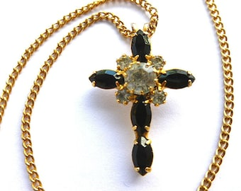 ELEGANT NOS Black & Clear Diamond Cross, Goldtone Cross with Black and Clear Faux Gemstones, Vintage New Old Stock Cross, Cross Necklace