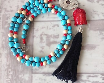 buddha necklace, red and blue necklace, layering necklace, long beaded necklace, chunky beaded necklaces women, long tassel necklace